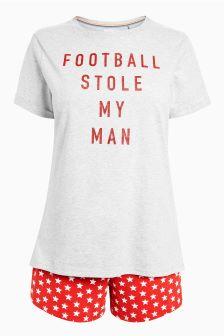 Football Slogan Cotton Short Set