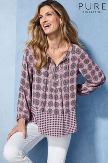 Pure Collection Pink Printed Tie Neck Blouse