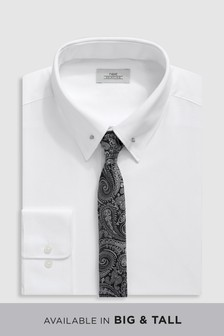 Pin Collar Slim Fit Shirt With Paisley Tie Set