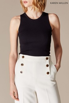 Karen Millen Black Essential Skinny Rib Knit Top
