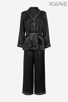Ensemble pyjama Figleaves Ava Palazzo en soie noir