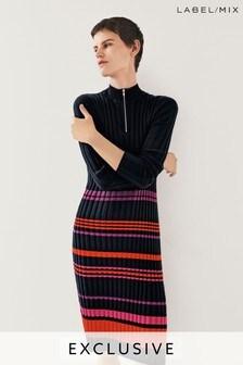 Mix/Madeleine Thompson Stripe Zip Neck Knit Dress