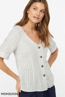 Monsoon Ladies Cream Fifi Stripe Linen Top