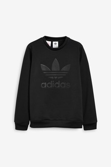 adidas Originals Black Embossed Trefoil Crew Sweater