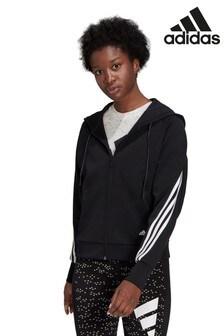 adidas Icons Black 3 Stripe Zip Through Hoody