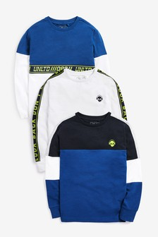 3 Pack Long Sleeve Taped T-Shirts (3-16yrs)