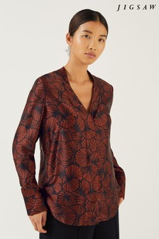 Jigsaw Brick Red Dancing Fan Silk Tux Blouse