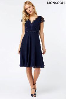 Monsoon Navy Brigitte Lace Kl Dress
