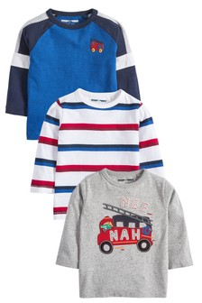 3 Pack Long Sleeve Fire Engine T-Shirts (3mths-7yrs)