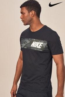 T-shirt Nike noirs à imprimé camouflage