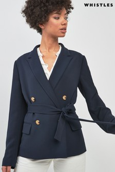 Whistles Navy Double Breasted Blazer