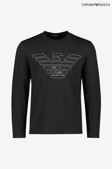 Emporio Armani Black Long Sleeve Eagle Logo Lounge T-Shirt