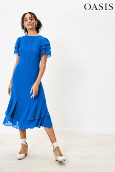 Oasis Blue Tiered Sleeve Midi Dress