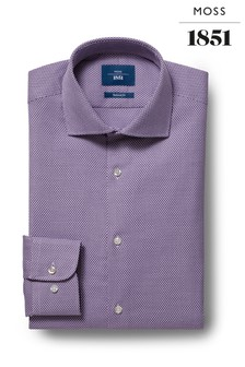 Moss 1851 Tailored Fit Strukturiertes Hemd mit einfachen Manschetten, violett