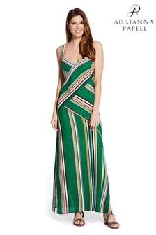 Adrianna Papell Green Midi Printed Stripe Slip Dress