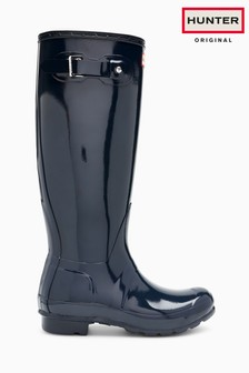 Hunter Original Gloss hohe Gummistiefel, marineblau