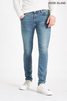 River Island Mid Blue Skinny Distressed Jean
