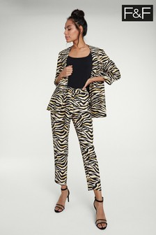 F&F Neutral Zebra Print Tapered Trouser