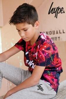 Hype. T-Shirt mit Rosenprint, rot