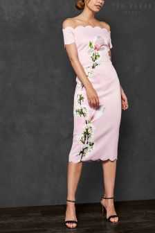 Ted Baker Olyva Pink Floral Bardot Dress