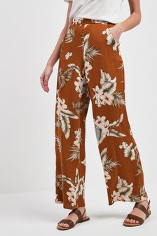 Pantalon large imprimé tropical
