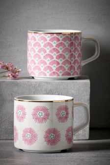 Set of 2 Floral Stackable Mugs