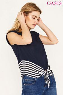Oasis Blue Stripe Tie Front Tee