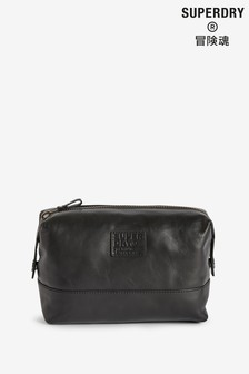 Superdry Tan Leather Premium Washbag