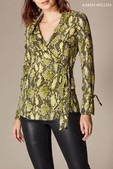 Karen Millen Yellow Snake Print Shirt