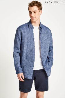 Jack Wills Blue Jaywick Solid Linen Shirt