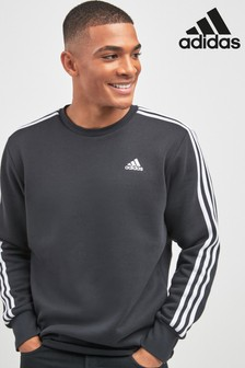 adidas Black 3 Stripe Crew