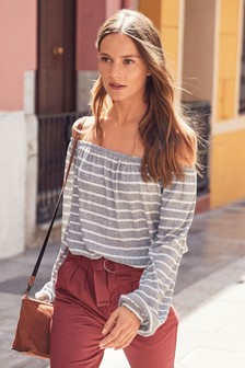 Metallic Stripe Bardot Top