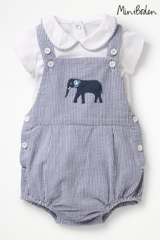 Boden Blue Ticking Romper And Body Set
