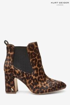 Kurt Geiger London Leopard Raylan Gusset Heel Boots