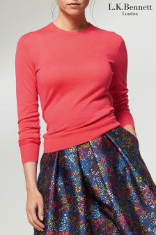 L.K.Bennett Pink Ceries Knitted Top