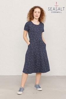 Seasalt Petite Navy Polka Dot Waterline April Dress
