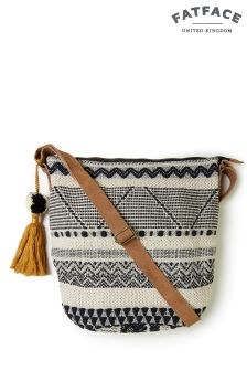 FatFace Black Aztec Woven Tia Cross Body