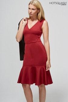 HotSquash Red V-Neck Drop Waist Ponte Dress