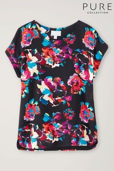Pure Collection Black Silk Front Print Top