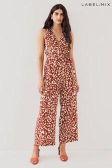 Mix/Kitri Studio Leopard Print Tie Waist Jumpsuit