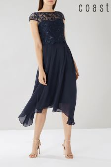 Coast Blue Jade Embroidered Bodice Dress