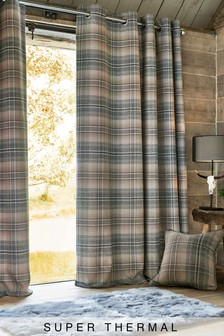 Nevis Woven Check Eyelet Super Thermal Curtains