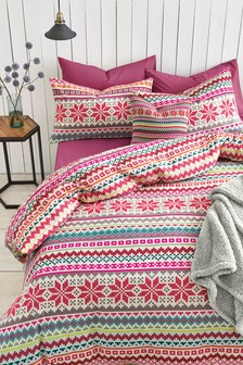 Brushed Cotton Fairisle Pattern Bed Set