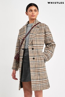 Whistles Checked Mara Cocoon Coat