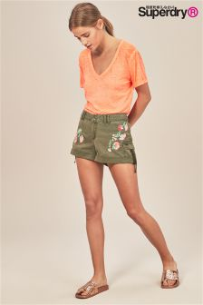 Superdry Khaki Floral Embroidered Short