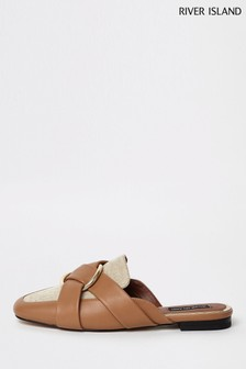 River Island Tan Backless Loafer