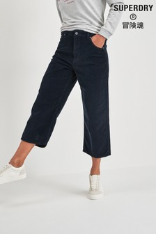 Superdry Navy Cord Wide Leg Trousers