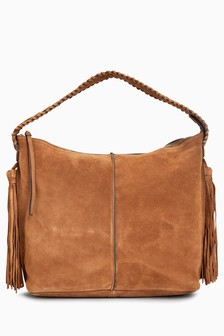 Suede Whipstitch Hobo Bag