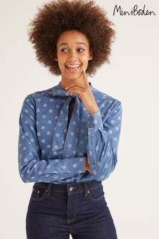 Boden Blue Keira Bow Neck Shirt