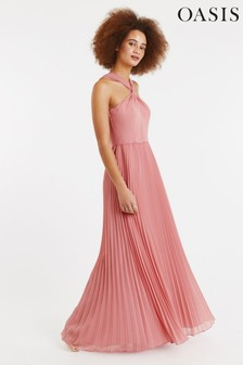 Oasis Pink Twist Neck Pleat Maxi Dress